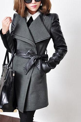 Fashion Lapel PU Leather Spliced Long Sleeve Trench Coat