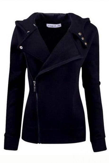 Autumn New Arrival Black Color Wide Lapel Zip-Front Jacket