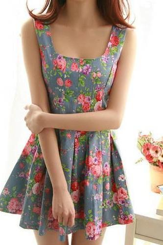 Floral Denim Princess Dress Qw912B VR7SMQZ1T4YN3C5JNPO5M