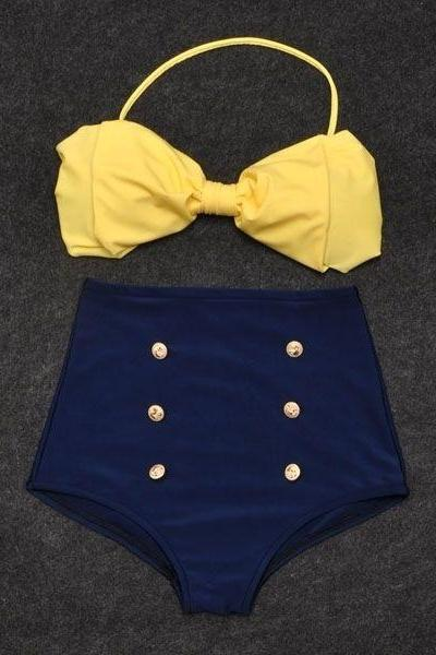 Vintage Retro Pin Up High Waisted Bikini Bow Top +Bottom Swimsuit