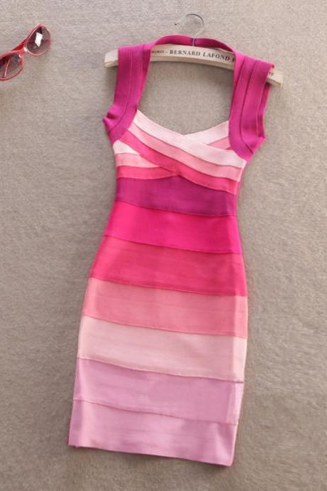 Slim Striped Dress Fashion Sexy Dress for girl