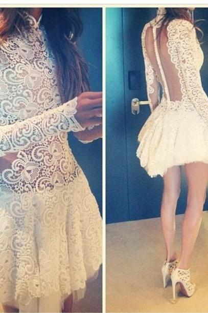 Temperament Evening Dress, Fashion Crochet Lace Dress Slim Perspective