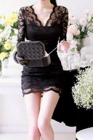 Sexy V Neck Black Lace Dress