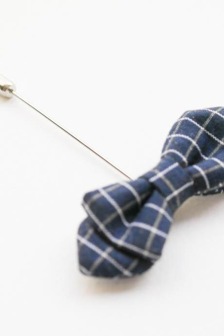 Navy blue checks double Bow Men's Boutonniere Lapel Pin