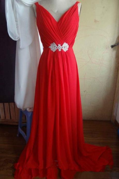 Sexy Red V-neckline Chiffon Prom Dresses 2015, Red Prom Gown, Evening Dresses, Bridesmaid Dresses