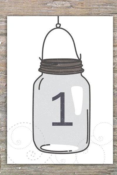 Mason Jar Table Numbers - DIY Printable decoration for Wedding or Event
