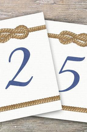 Nautical Table Numbers 1-20 : DIY Printable decoration for Wedding or Event