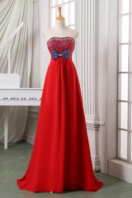 Red strapless lace appliqued beaded long chiffon evening dress,formal dress,prom dress,party dress,pageant dress,wedding dress.
