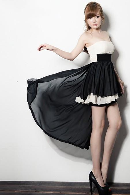 Fashion Sexy Black And White Chiffon Cocktail Dress