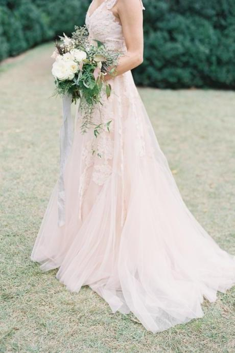 Custom Made A Line Light Pink Lace Wedding Dresses with Train, Lace Wedding Gowns, Lace Bridal Dresses