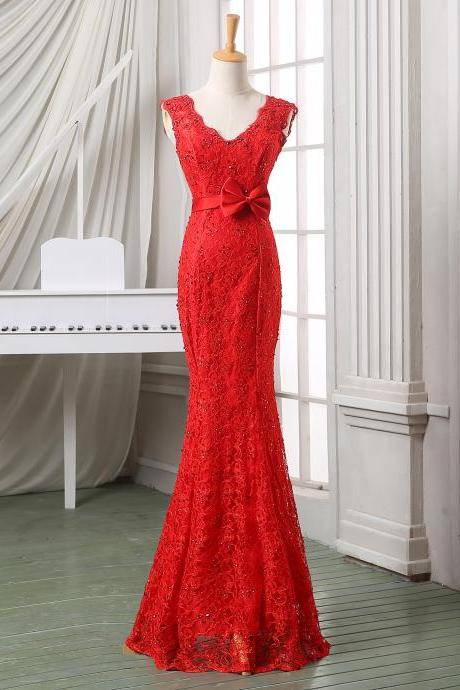 Red deep V neck mermaid formal evening dress/wedding dress/bridal dress,floor length red lace backless evening dress,party/pageant dress.