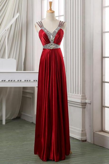 Deep V neck red beading long satin formal evening dress/pageant dress/wedding party dress,cheap beading pleated evening dress,party dress.