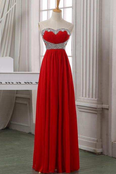 New arrival red chiffon beading prom dress,evening dress,red maxi dress,cheap long chiffion dress,red long prom dress,wedding party dress.