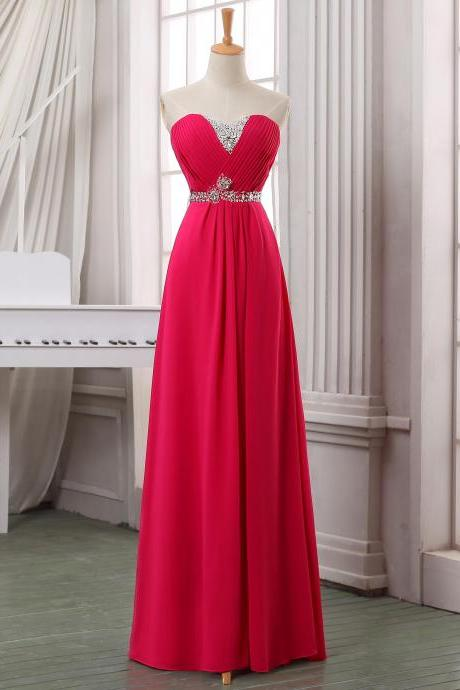 Red beading long chiffon prom dress,party dress,floor length evening dress,red long chiffon homecoming dress,cheap homecoming dress.