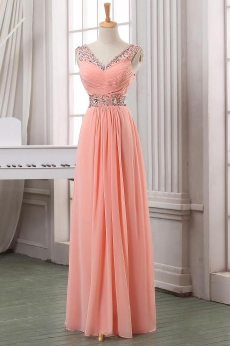 Blush pink long chiffon prom dress,evening dress,formal dress with beadings,long chiffon handmade prom dress,evening dress.