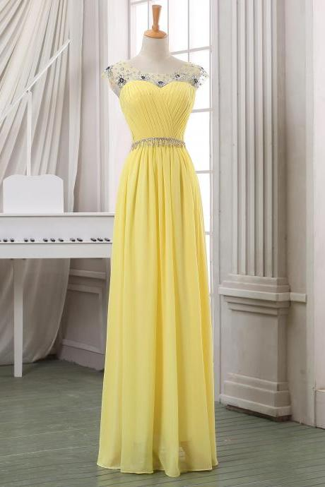 Prom dress,Long chiffon prom dress,yellow prom dress,long yellow homecoming dress,yellow prom dress/party dress/evening dress/party dress in handmade.