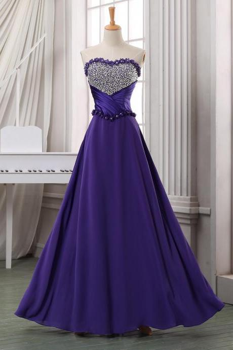 Elegant Beaded Scoop Empire Waist Plus Size Prom Dresses 2015 New Women Royal Blue Evening Gowns
