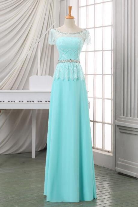Prom dress/evening dress with beadings,cheap baby blue long homecoming dress/evening dress/party dress,plus size evening dress.