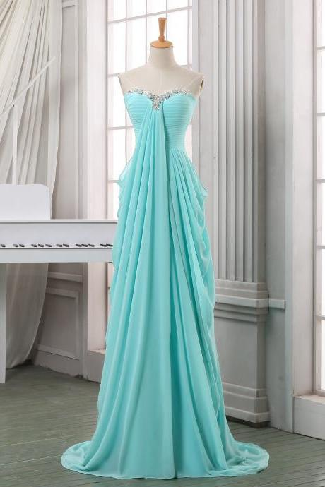 Long pleated chiffon prom dress,A line sweeetheart prom dress,baby blue chiffon long prom dresses,formal evening dress,long homecoming dress