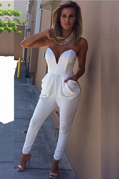 Chic One Piece Strapless White Jumpsuit With Pockets