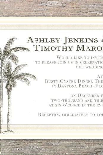 Beach Invitation Palm Tree - Printable DIY for Wedding or Event