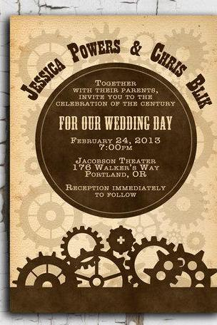Steampunk Invitation - Printable DIY for wedding or event