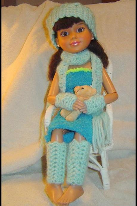 18 Inch BFC and American Girl Dolls 4PC Shells-Picot Winter Set #0057