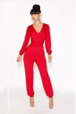 Solid Color High-Waisted Trendy Style V-Neck Long Sleeve Women's Jumpsuits