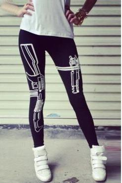 Cheap Sexy Gun Print Leggings