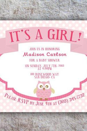 Printable owl Baby Shower Invitation - DIY
