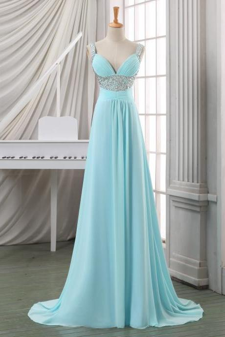 Deep V neck prom dress/evening dress/party dress,empire long cheap chiffon evening dress/formal dress/bridesmaid dress/wedding party dress.