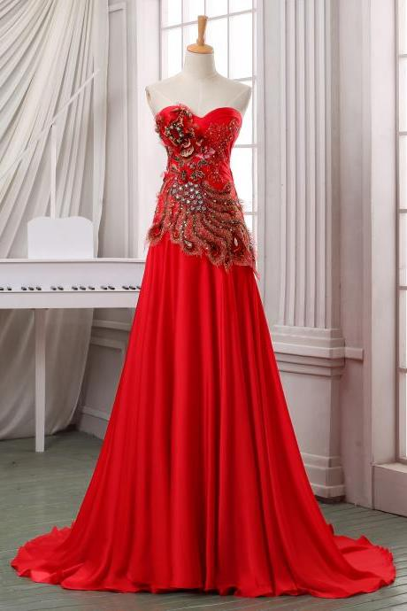 Strapless long red chiffon fromal evening dress,red chiffon wedding dress,handmade red long prom dress,formal evening dress,party dress.