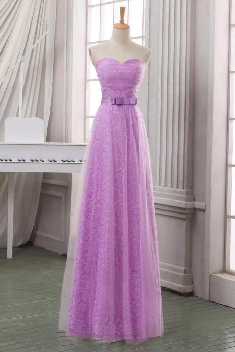 Lilac long tulle homecoming dress with sash,handmade lace appliqued homecoming dress,strapless sweetheart homecoming dress/bridesmaid dress