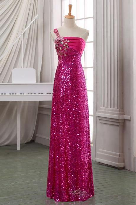 One shoulder hot pink prom dress,long beading prom dress,cheap prom dress,handmade prom dress 2014,high fashion prom dress/party dress.