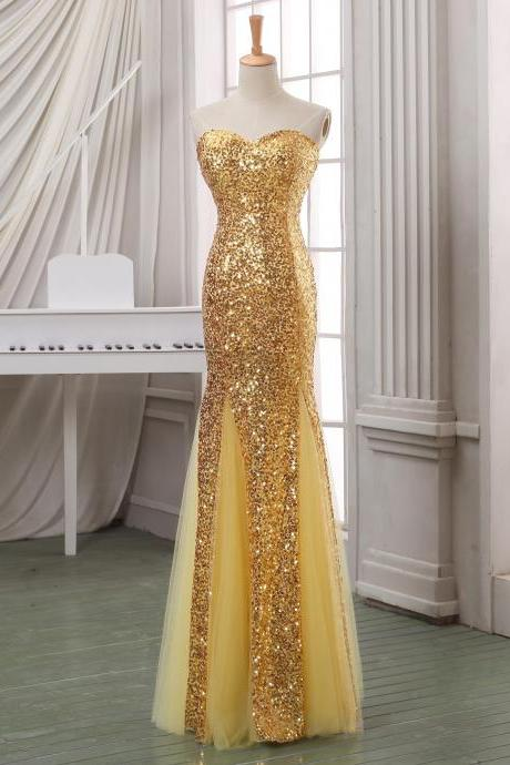 Luxury beading sequins mermaid tulle evening dress,evening gown,formal dress,pageant dress,custom size and custom color.