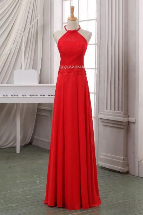Red halter prom dress/evening dress,A line floor length evening dress.pageant dress,cheap evening dress,prom dress custom made on sale.