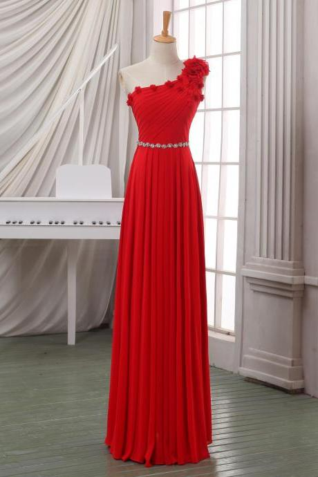 Red one shoulder prom dress,cheap long chiffon prom dress,maxi dress,wedding party dress,homecoming dress,party dress,custome size and color