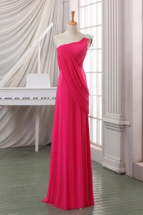 One shoulder hot pink prom dress maxi dress,floor length custom chiffon prom dress maxi dress pageant dress bridesmaid dress for wedding.