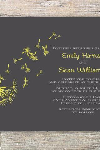 Dandelion Invitation - Printable DIY for wedding or event