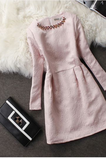 new fashion Elegant Round Neck Long-Sleeved Dress