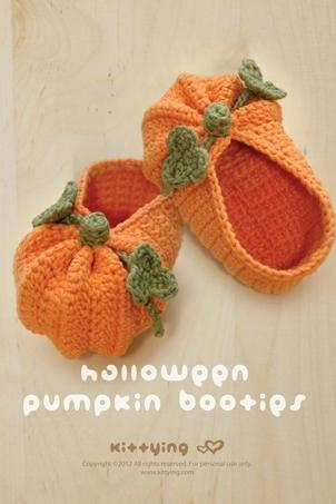 Crochet PATTERN Halloween Pumpkins Baby Booties, PDF - Chart & Written Pattern by kittying