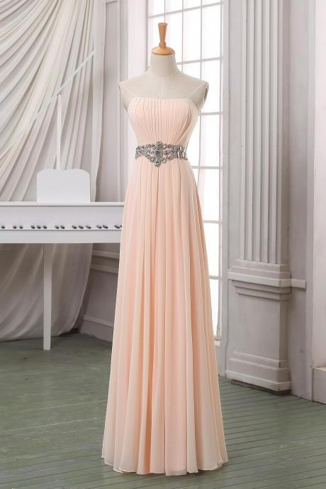 Pale pink pleated prom dress,strapless long chiffon prom dress,party dress,pageant dress,bridesmaid dress for wedding with beading sash.