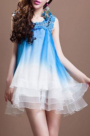 Sleeveless Sexy Hollow Out Color Gradient Organza A-Line Tutu Dress