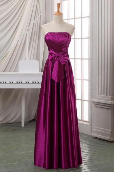 Custom purlish red long prom dress,strapless empire satin prom dress/evening dress/formal dress/formal wowens dress with bow sash.
