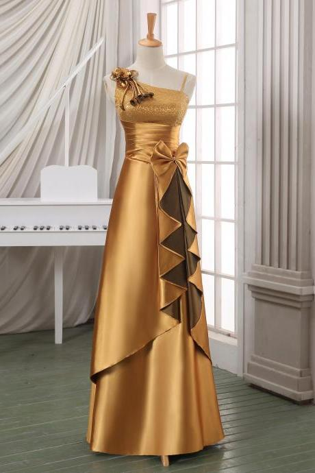 Luxury gold long formal evening dress,long satin evening dress,designed evening dress,formal dress,designed long pageant dress.