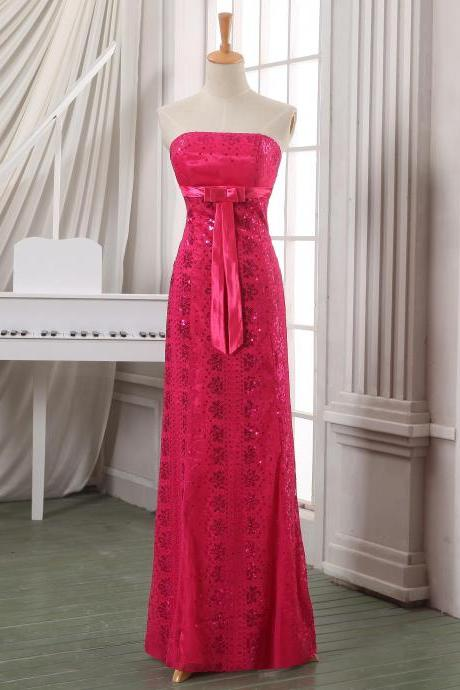Pink Bandeau Neckline Full Length Prom Dress with Sequins and Ribbon Sash