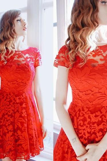 new fashion Sexy Perspective Lace Red Dress