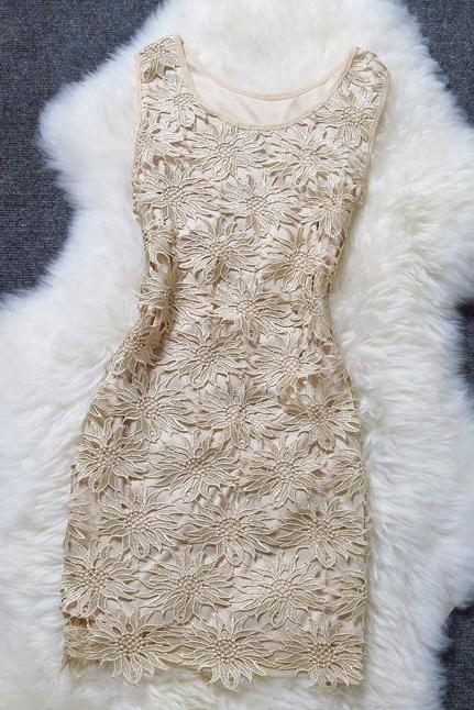 Sexy Solid Openwork Lace Dress