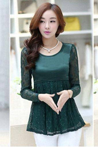 Sweet Girls Fashion Long Sleeve Body Con Floral Lace Pullover Under Blouse