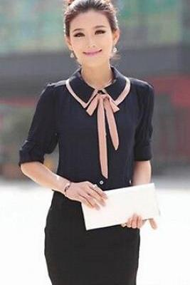 Korean Sweet Summer Lady's Tops Long Sleeve Polo Neck Solid Chiffon Blouse